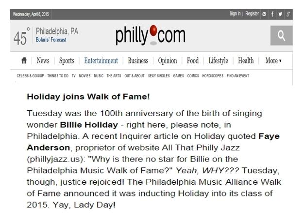 Billie Holiday Joins Walk of Fame - 4.8.15