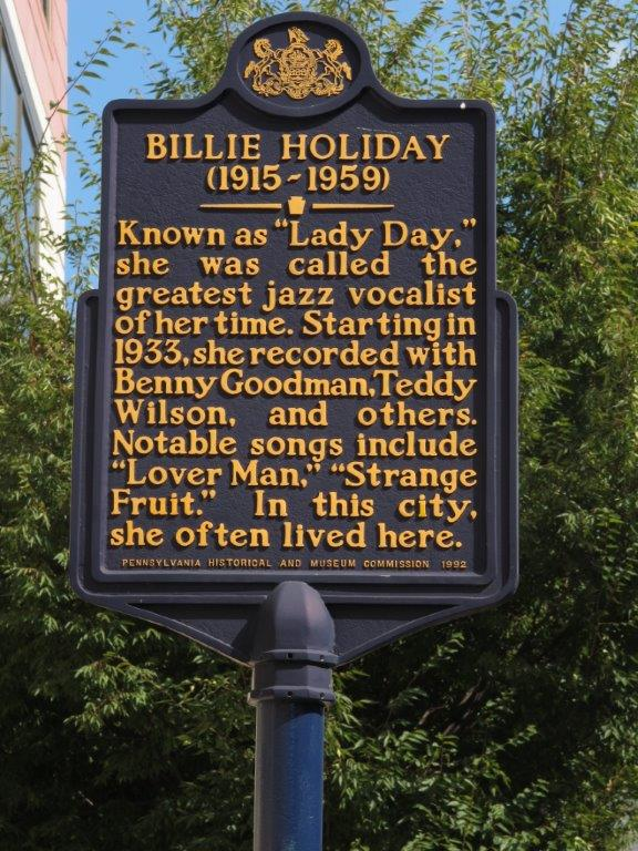 Billie holiday historical marker all that philly jazz for Billie holiday mural