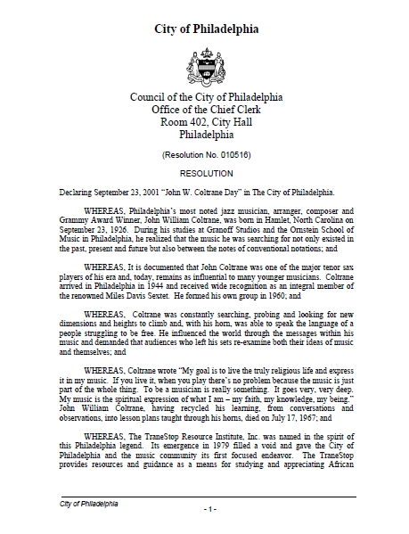 City Council Resolution - June 2001