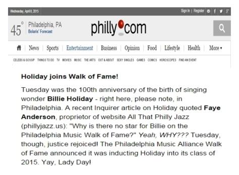 Billie Holiday Joins Walk of Fame