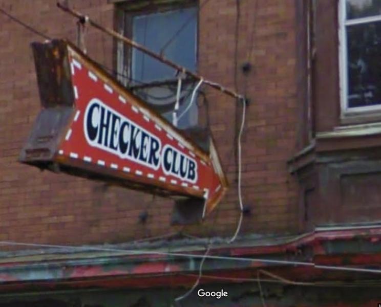 2125 Ridge Avenue - Checker Club Sign