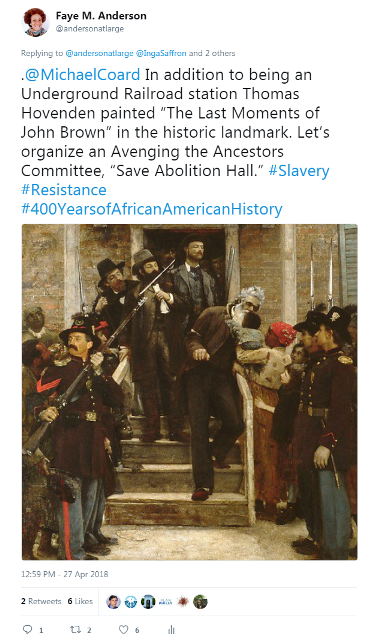 Tweet - April 27, 2018 - Abolition Hall - Last Moments of John Brown