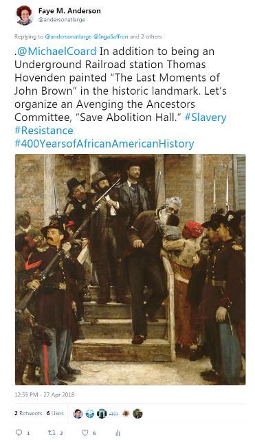 Tweet - April 27, 2018 - Abolition Hall - Last Moments of John Brown