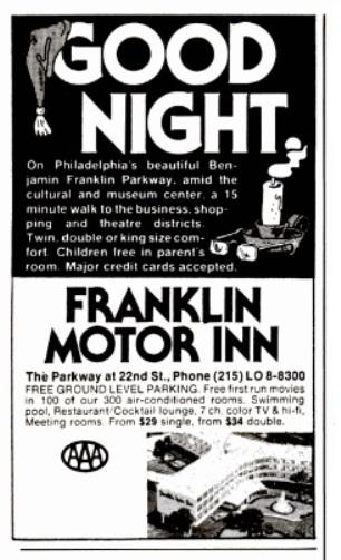 Franklin Motor Inn - New York Magazine Ad 1980