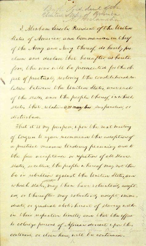 Emancipation Proclamation - January 1, 1863