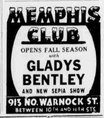 Memphis Club - Gladys Bentley - 913 N. Warnock Street