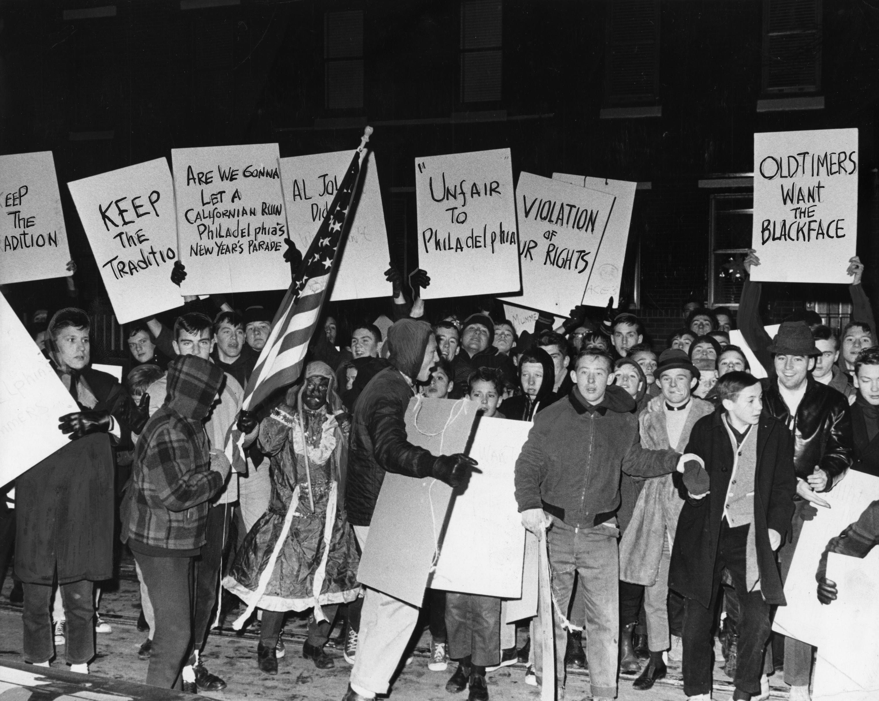 Demonstrators protest ban of blackface in Mummers parade, December 19, 1963