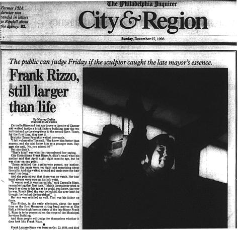 #FrankRizzo - Still Larger Than Life - Philadelphia Inquirer - December 1998