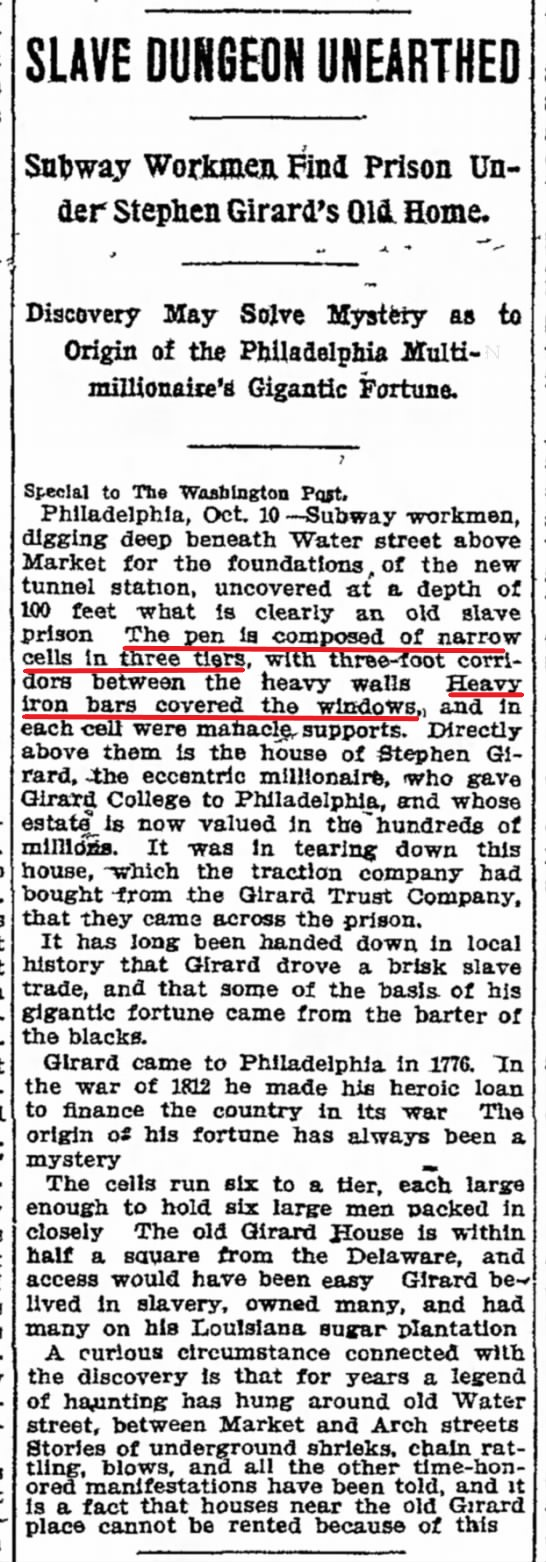 Stephen Girard Slave Pen Discovery - Chicago Tribune, October 11, 1909 - Overlay