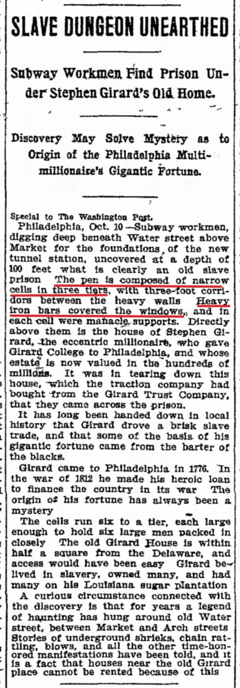 Stephen Girard Slave Pen Discovery - Chicago Tribune, October 11, 1909 - Overlay