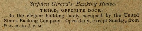 Stephen Girard's Bank - J. A. Paxton Directory -1813